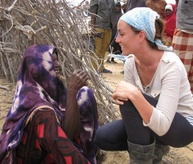 Our Executive Director speaks with a woman in Dhoobley, Somalia